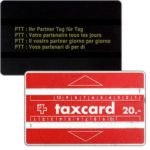 "The Phonecard Shop: Switzerland, Definitive, short dash after ""20"", code printed on matt background, 20 units"