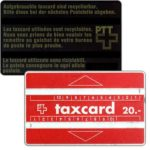 "The Phonecard Shop: Switzerland, Definitive, short dash after ""20"", 20 units"