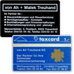 The Phonecard Shop: Switzerland, Von Ah Treuhand AG (printed back), 003A, 1 unit