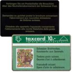 The Phonecard Shop: Swiss stamps, head, left side, 10 units, 108B, 10 units