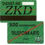 The Phonecard Shop: East Germany, ZKD green card specimen, 500 units