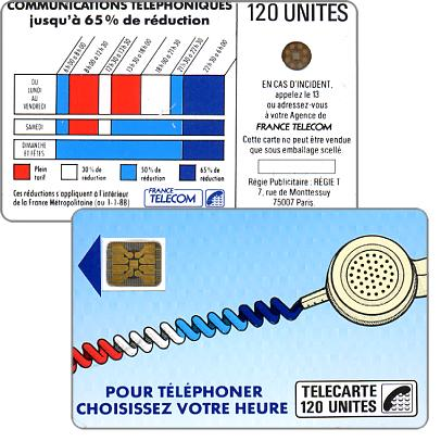 "The Phonecard Shop: France, Definitive ""Cordons Bleus"", text ""Regie Publicitaire: REGIE T"", chip SC-4on with frame, 120 units"