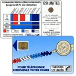 "The Phonecard Shop: Definitive ""Cordons Bleus"", text ""Regie T La publicité sur la telecarte"", ""7"" under blank space, chip SC-4on with frame, 120 units"