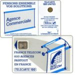 "The Phonecard Shop: Definitive ""600 Agences"", text ""La Communication…"", chip SC-4an Ø7 with frame, 120 units"