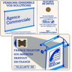 "The Phonecard Shop: Definitive ""600 Agences"", text ""La Communication…"", chip SC-5ab Ø7 with frame, 50 units"