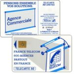 "The Phonecard Shop: Definitive ""600 Agences"", text ""La Publicitè…"", chip SO3, 50 units"