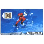 The Phonecard Shop: France, Albertville 92, slalom skier 2, 04/91, chip SC-4ab Ø6, 50 units