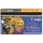 The Phonecard Shop: Metrovias - Disney's El Planeta del Tesoro, Silver y Morph (Buenos Aires subway card), 1 ride