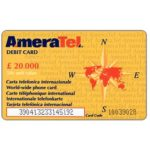 The Phonecard Shop: Italy, Ameratel - Debit card, world map on reverse, L. 20.000
