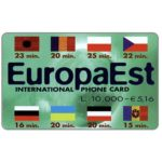 The Phonecard Shop: Italy, EuropaEst - Flags, L.10.000 / € 5,16
