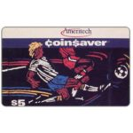 The Phonecard Shop: Ameritech - Coin$aver, soccer players, $5, cardboard specimen card