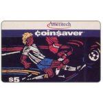 The Phonecard Shop: U.S.A., Ameritech - Coin$aver, soccer players, $5, cardboard specimen card