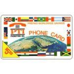 The Phonecard Shop: PT1 Communications - Earth and flags, logo PTI, $5.00