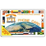 The Phonecard Shop: U.S.A., PT1 Communications - Earth and flags, logo PTI, $25.00