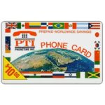 The Phonecard Shop: PT1 Communications - Earth and flags, logo PTI, $10.00