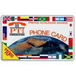 The Phonecard Shop: PT1 Communications - Earth and flags, logo PT1, $10.00